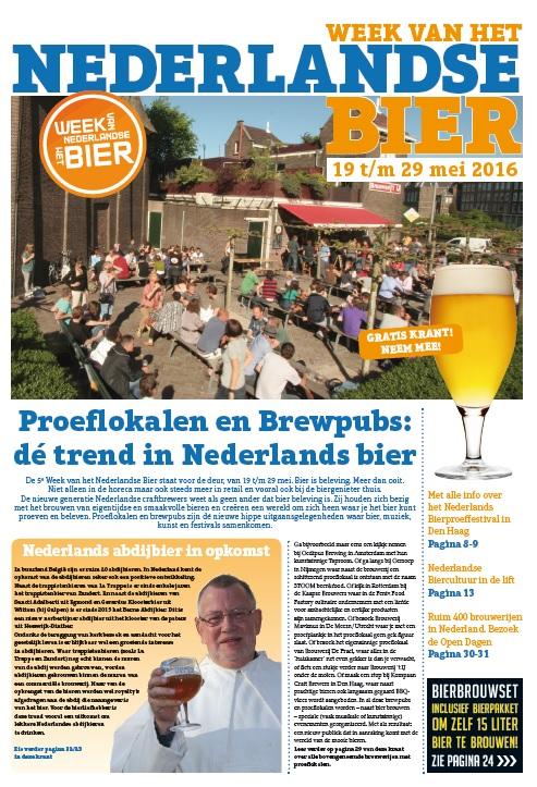 Voorkant krant van de Week van het Nederlandse Bier 2016